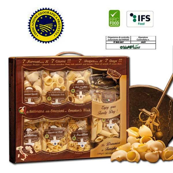 Confezione Regalo con Pasta di gragnano 7 formati per 7 giorni